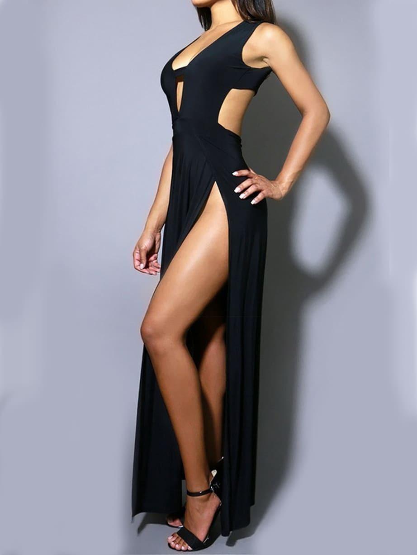 robe longue col v plongeant dos nu noir french romwe. Black Bedroom Furniture Sets. Home Design Ideas
