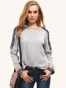 Grey Crew Neck Fringe Hem Sweatshirt