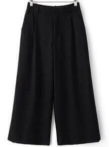 Black Pockets Elastic Waist Wide Leg Pants