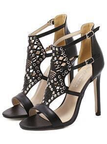 Cutout Studded High Heel Sandals