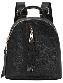 Black Zip Top Backpack