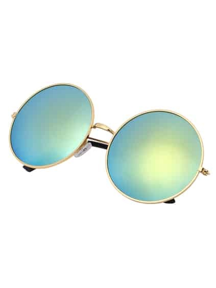 Golden Mirrored Lenses Retro Round Sunglasses