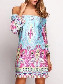 Multicolor Off the Shoulder Floral Dress