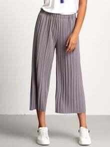 Pantalón cintura elástica plisado -gris
