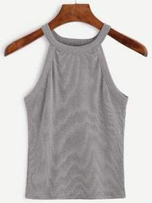 Ribbed Mock Neck Grey Racer Tank Top