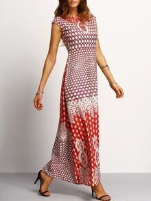 Sleeveless Tribal Print Maxi Dress
