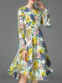 Yellow Bell Sleeve Floral A-Line Dress