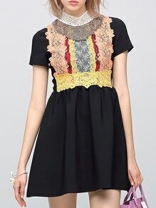 Black Contrast Crochet A-Line Dress