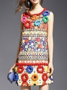 Multicolor Beading Disc Flowers Jacquard Dress