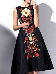 Black Crew Neck Embroidered Dress