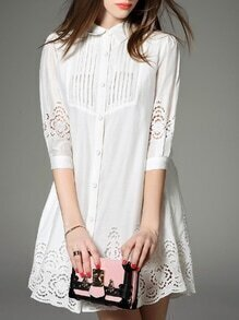 White Lapel Hollow Shirt Dress