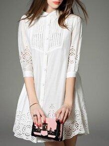 White Lapel Hollow Shirt Dress