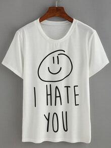 Kurzarm T-Shirt mit Buchstaben Druck -weiß
