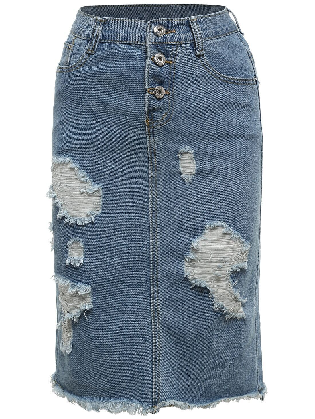blue ripped frayed denim skirt