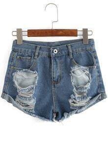 Blue Ripped Frayed Denim Shorts