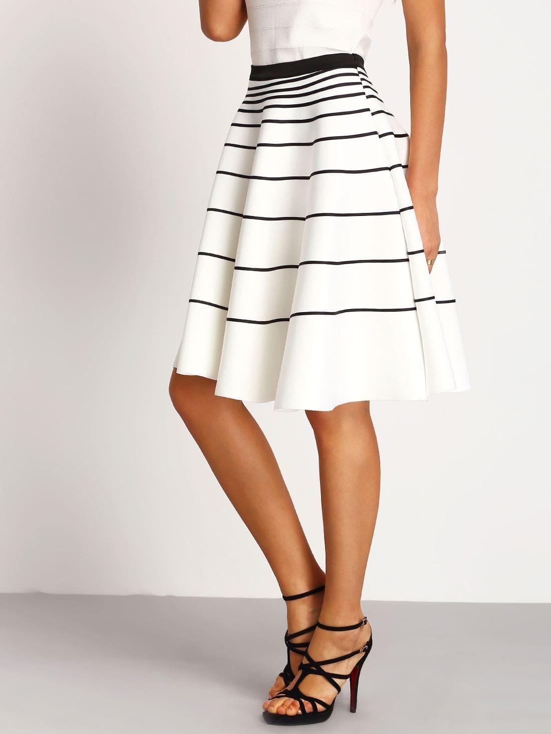 white striped a line skirt