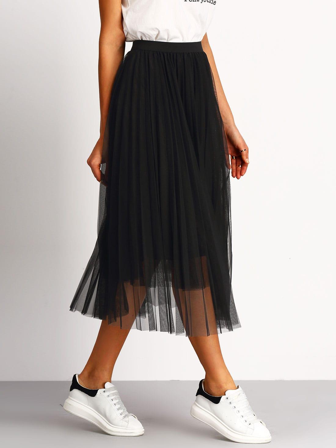 jupe taille lastique pliss noir french romwe