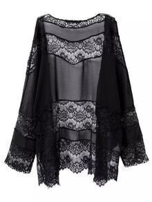 Black Long Sleeve Lace Splicing Cardigan Coat