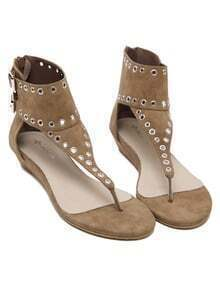 Brown Faux Suede Studded Thong Sandals