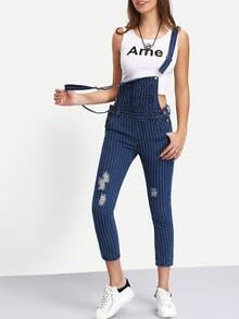 Straps Vertical Striped Ripped Denim Jumpsuit