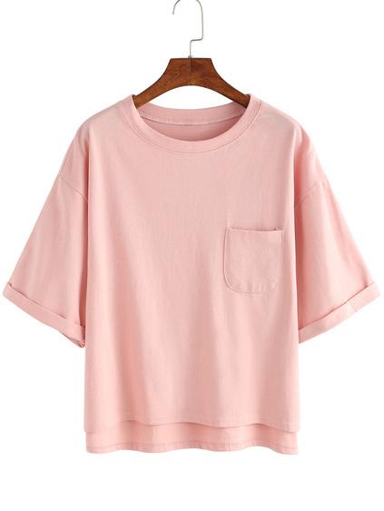 Dip Hem Cuffed Pocket T-shirt