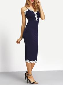 Vestido espagueti correa contraste encaje recorte