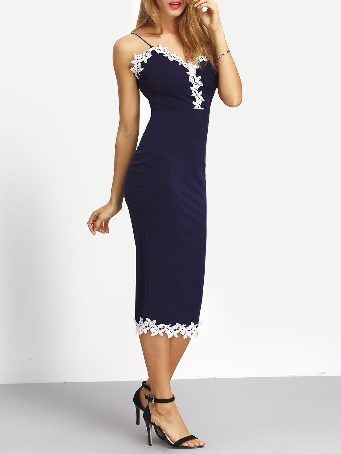 Spaghetti Strap Contrast Lace Split Back Dress