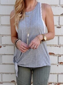 Grey Knotted Tank Top