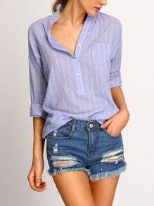 Stand Collar Vertical Striped Blouse With Pocket