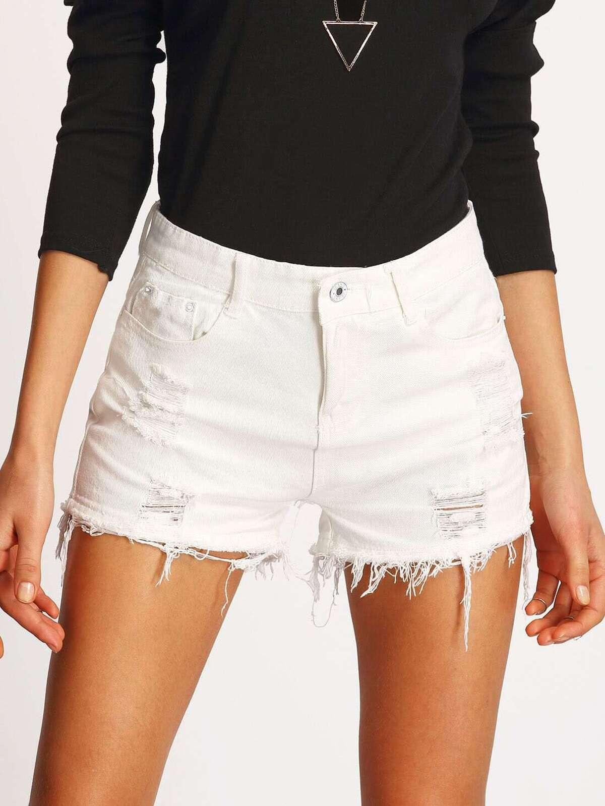 白色 撕裂 磨損的 牛仔布 短褲