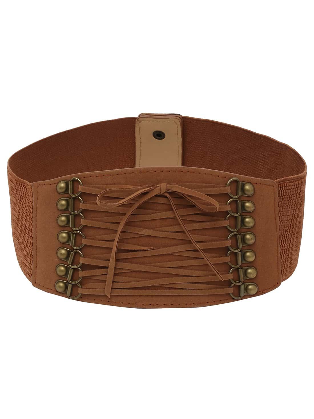 lace up front brown wide elastic belt