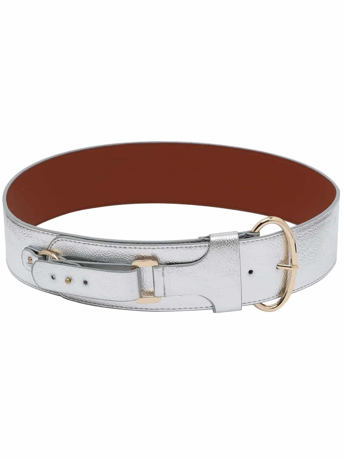 metallic silver oval rring buckle wide belt