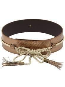 Snake Embossed Tassel Belt