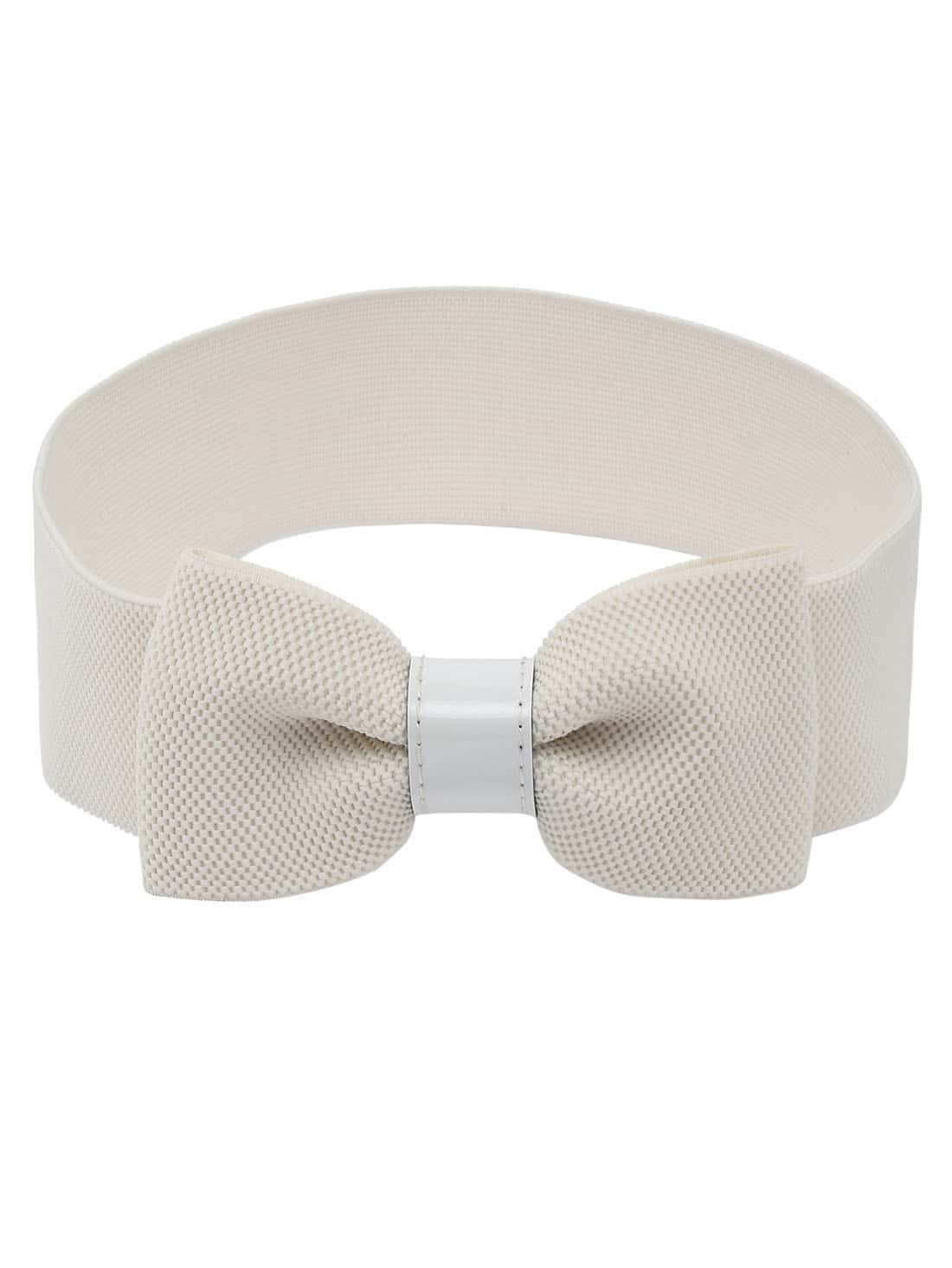 bow front white wide elastic belt