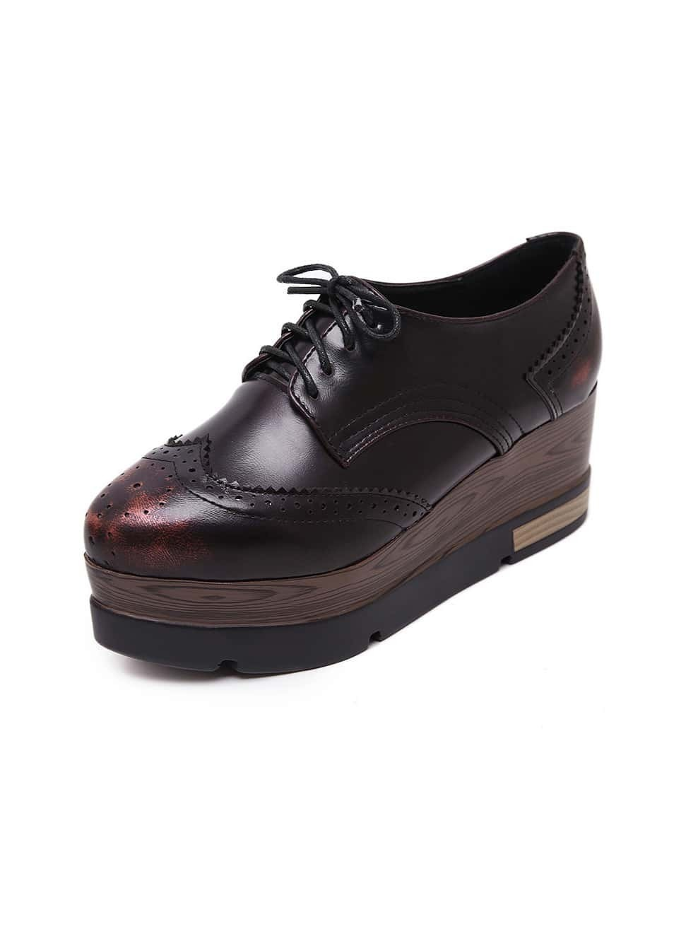 chaussure semelle compens e avec lacets rouge french romwe. Black Bedroom Furniture Sets. Home Design Ideas