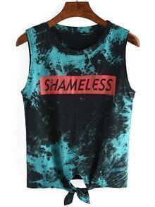 Letters Print Knotted Tie-dye Tank Top