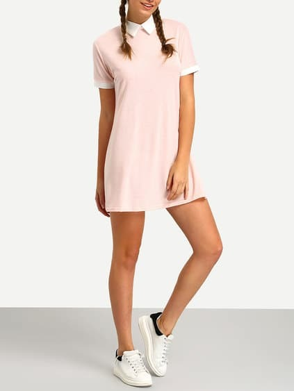 Pink Contrast Collar Shirt Dress