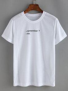 T-shirt motif lettres -blanc