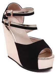 Black Ankle Strap Wedges Sandals