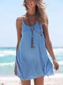 Blue Crisscross Back Cami Dress