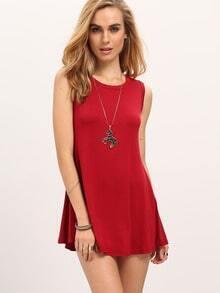 Red Round Neck Shift Dress