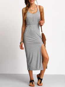 Grey Halter Backless Split Dress