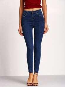 Blue Scratch Denim Slim Pant