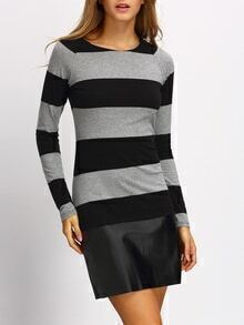 Black Striped PU Leather Hem Dress