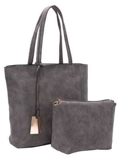 Faux Suede Tote Bag Set