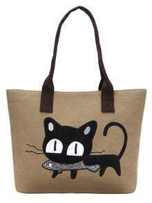 Lovely Cat Embroidery Patch Canvas Tote Bag