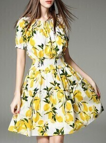 White Elastic-Waist Lemon A-Line Dress