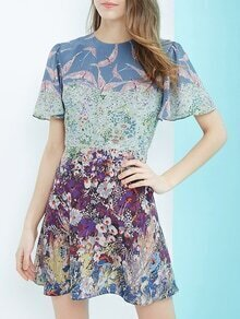 Multicolor Bell Sleeve A-Line Print Dress