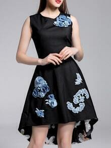Black Embroidered Flowers High Low Dress