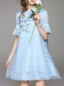 Blue Bell Sleeve Beading Organza Lace Dress
